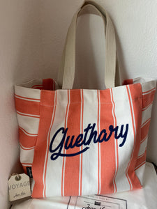 "Beach bag, embroidered ""Guethary"" by Jean-Vier ""Sac de Plage"""