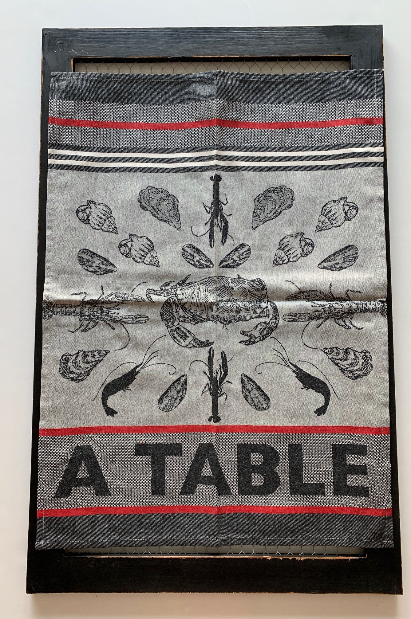 "French Jacquard tea towel by Jean-Vier, ""Crustacés"" small"