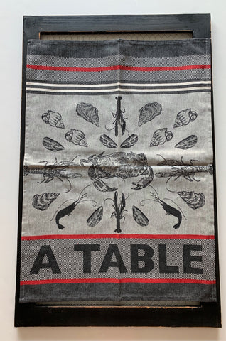 "Small French Jacquard tea towel by Jean-Vier, ""Crustacés"""