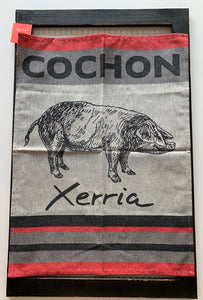 "Small French Jacquard tea towel by Jean-Vier, ""Cochon"""