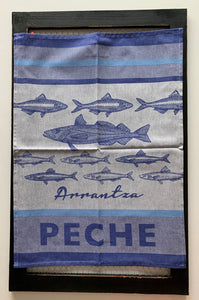 "Small French Jacquard tea towel by Jean-Vier, ""Pêche Basque"""