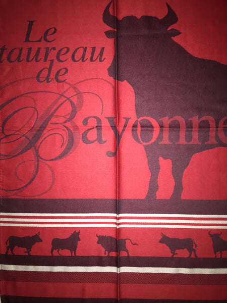 "French Jacquard tea towel by Jean-Vier, ""Le Taureau"" large"