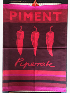 "Small French Jacquard tea towel by Jean-Vier, ""Piment"""