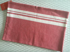 French Linen Red/Cotton traditional tea towel by Jean-Vier