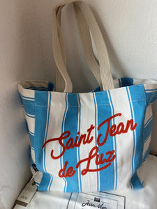 "Beach bag, embroidered ""Saint Jean"" by Jean-Vier ""Sac de Plage"""