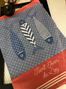 "French Jacquard tea towel by Jean-Vier, ""St. Jean de Luz"""