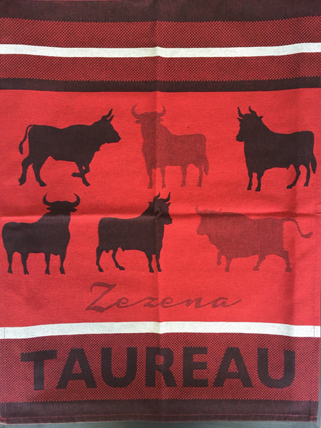 "Small French Jacquard tea towel by Jean-Vier, ""Taureau Rouge"""