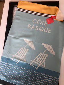 "French Jacquard tea towel by Jean-Vier, ""Côte Basque"""