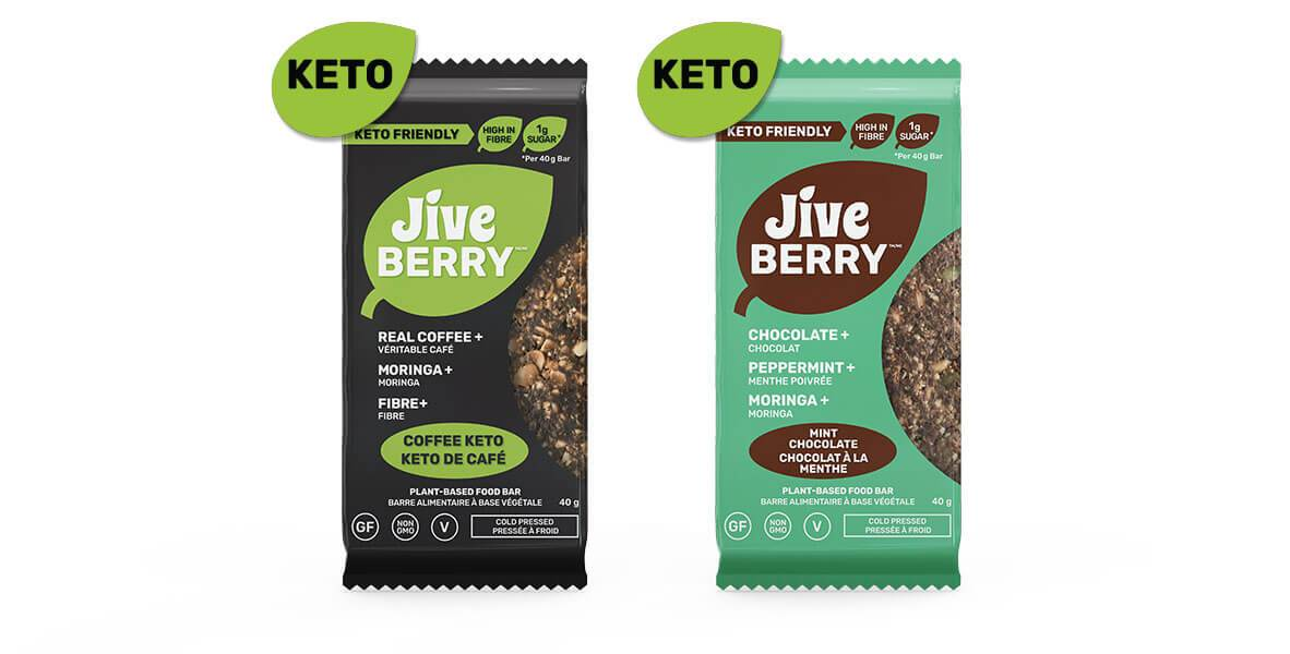 JiveBerry Low-Carb nutrition bar collection