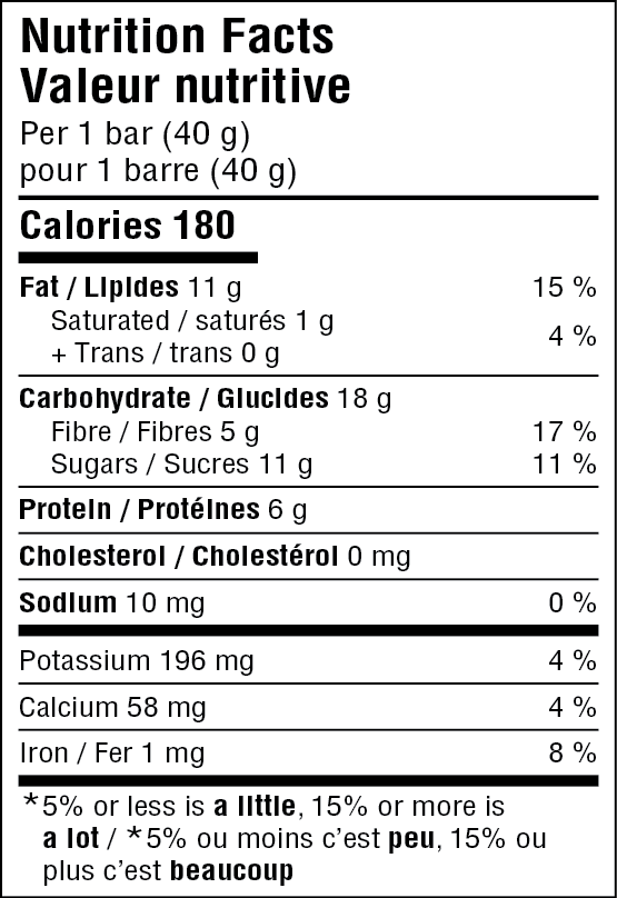 JiveBerry Cranberry-Chocolate Nutrition Fact Table