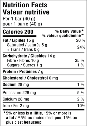 JiveBerry Bar Mint-Chocolate Nutritional Information