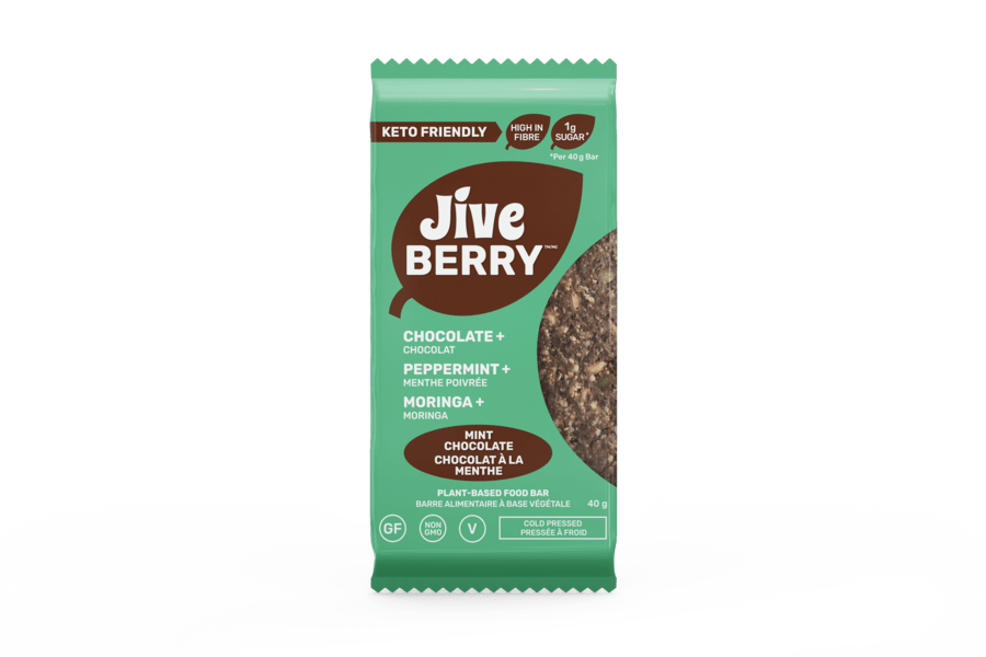 JiveBerry Mint-Chocolate low-carb and plant-based nutrition bar