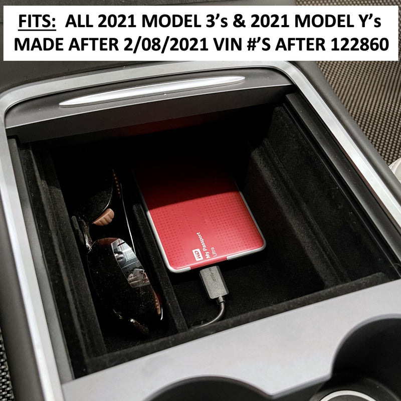 Model 3 2021 & Model Y 2021 Post Jan 2021- Console Full Size Sliding Tray - $29