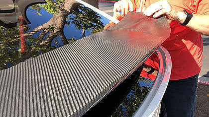 Model X Spoiler Carbon Fiber Wrap Only $65 w/ disc