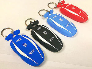 Model S, 3, & Y Key Fob Silicone Cover w/ Key Ring & Chain