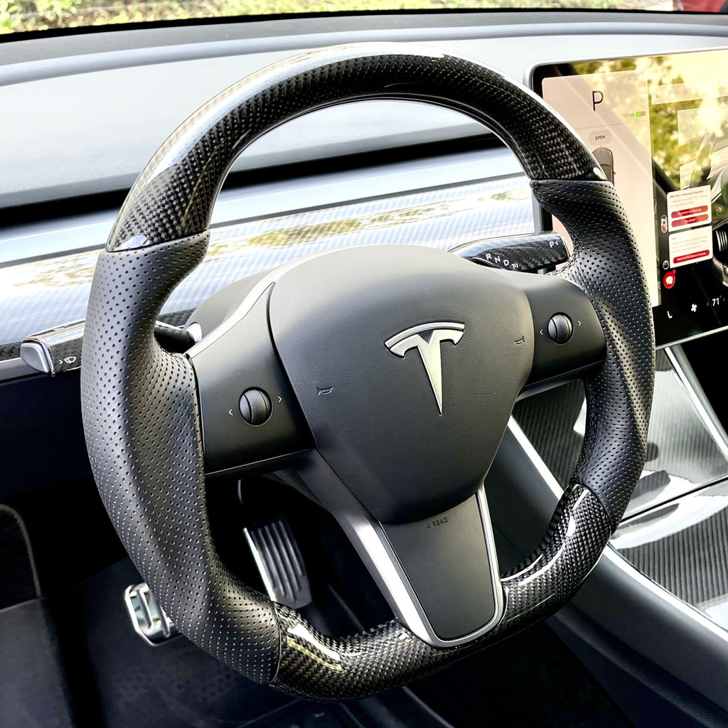 Model 3 & Y - Sport Grip Full Carbon Fiber Steering Wheel - Only $999