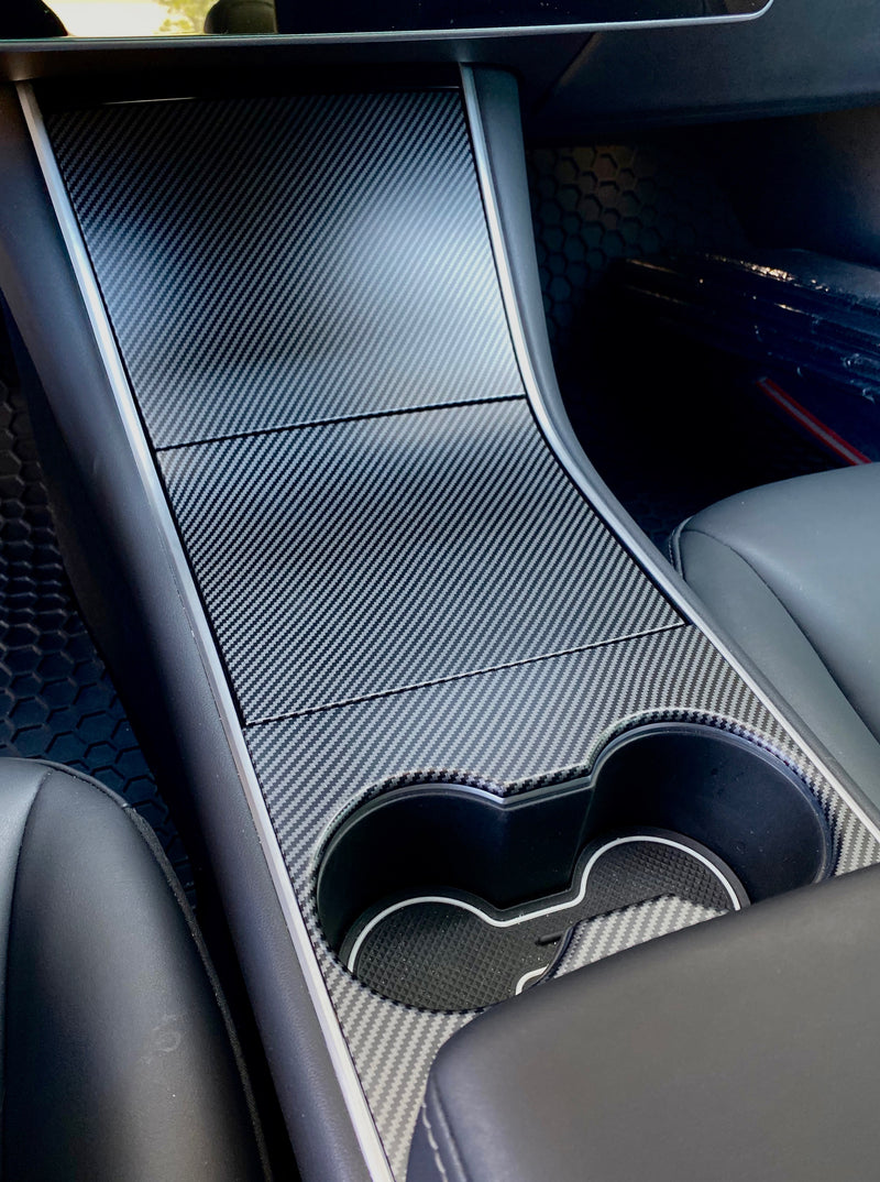 Model 3 Center Console Plastic Cover - Carbon Fiber Coated- (4 Pieces Gen.2)  From $89