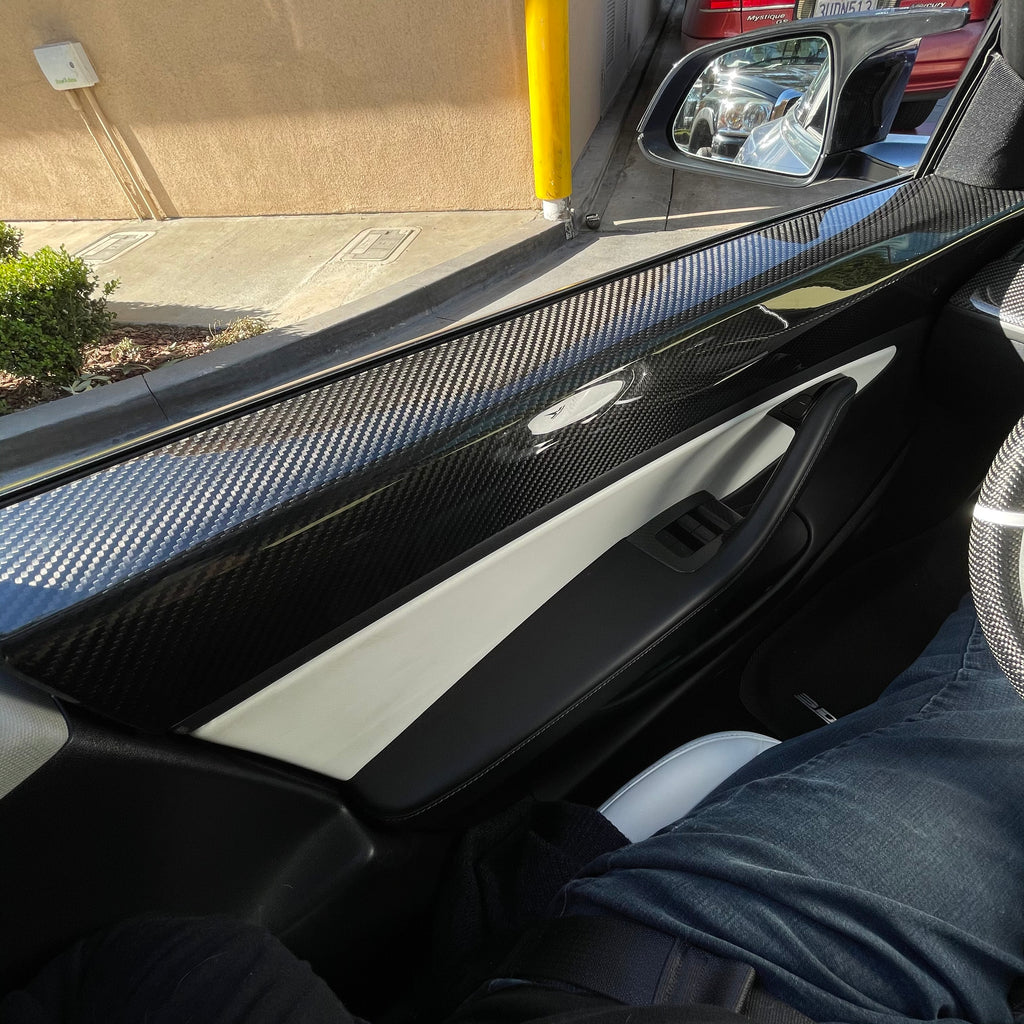 Model 3 Carbon Fiber Front Door Panel Caps- From $ 349 per Pair