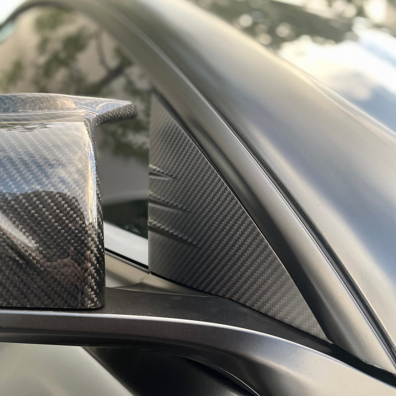 Model 3 Carbon Fiber Molded A- Pillar Accent Caps (1 Pair) $129