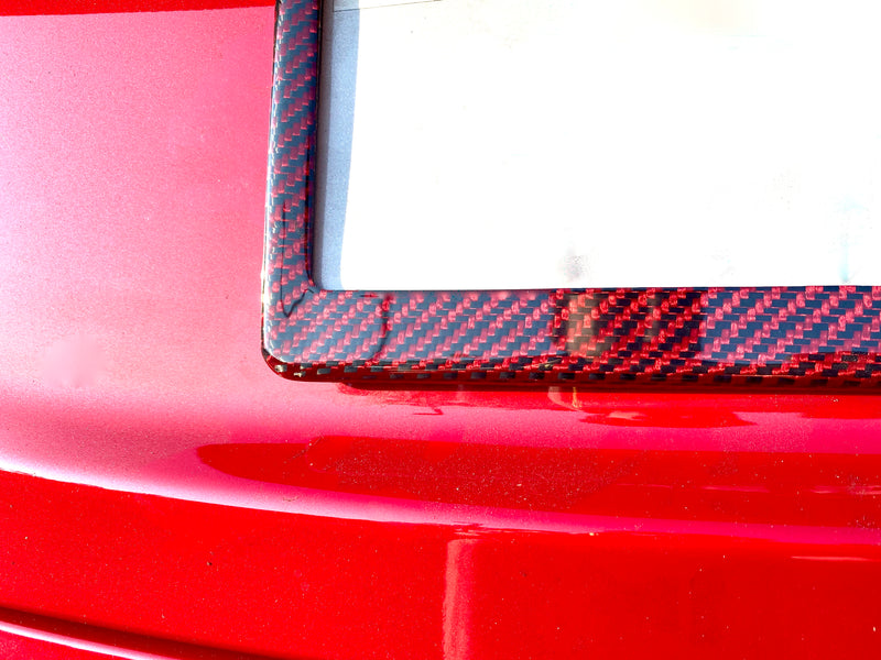 Red Carbon Fiber & Kevlar License Frame - Glossy  (Only $39 with 20% Off)