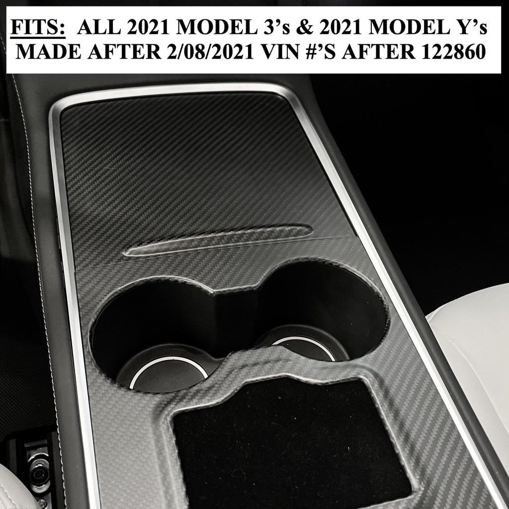 Model 3 & Y 2021 Carbon Fiber Molded Refreshed Center Console Overlays - From $ 199
