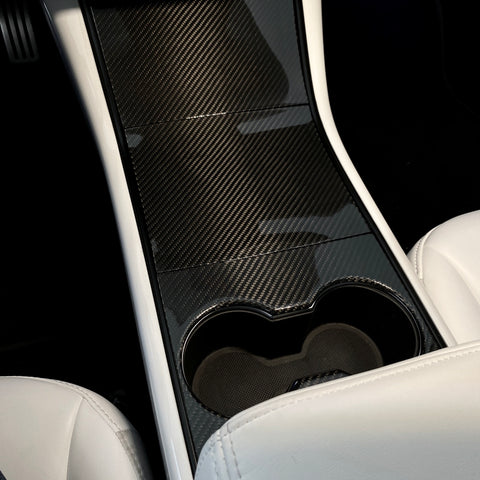 Model 3 & Y Center Console Side Panel Caps - White or Carbon Fiber $149