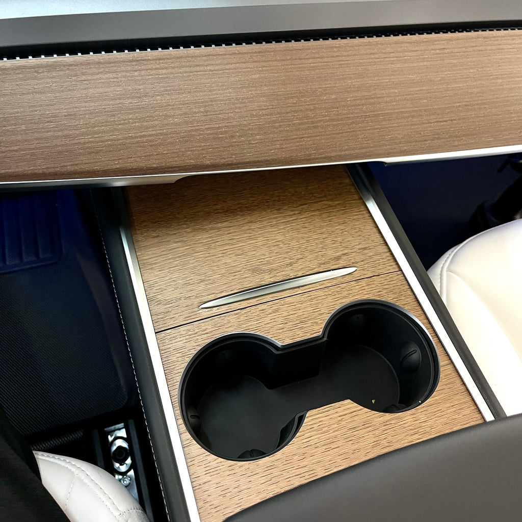 Model 3 & Y 2021 Center Console Vinyl Wood Wraps, Only Model Y's Made after Feb 8 - $59