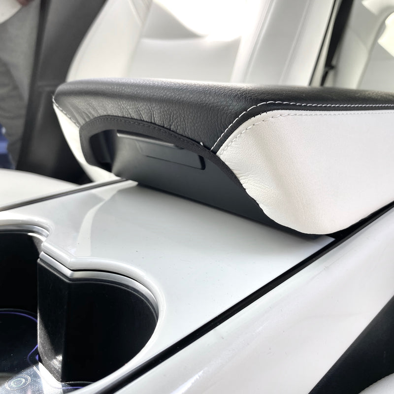 Model 3 & Y Leather Armrest Padded Cover -Black, White, or Both - $39 with 20% OFF