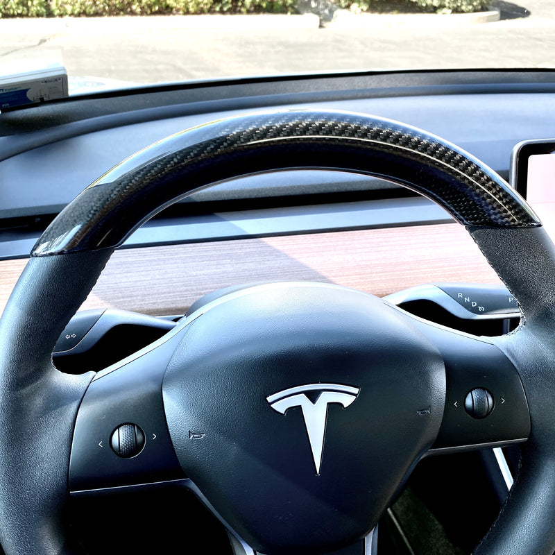 Model 3 & Y - Carbon Fiber Steering Wheel Top Cap $149
