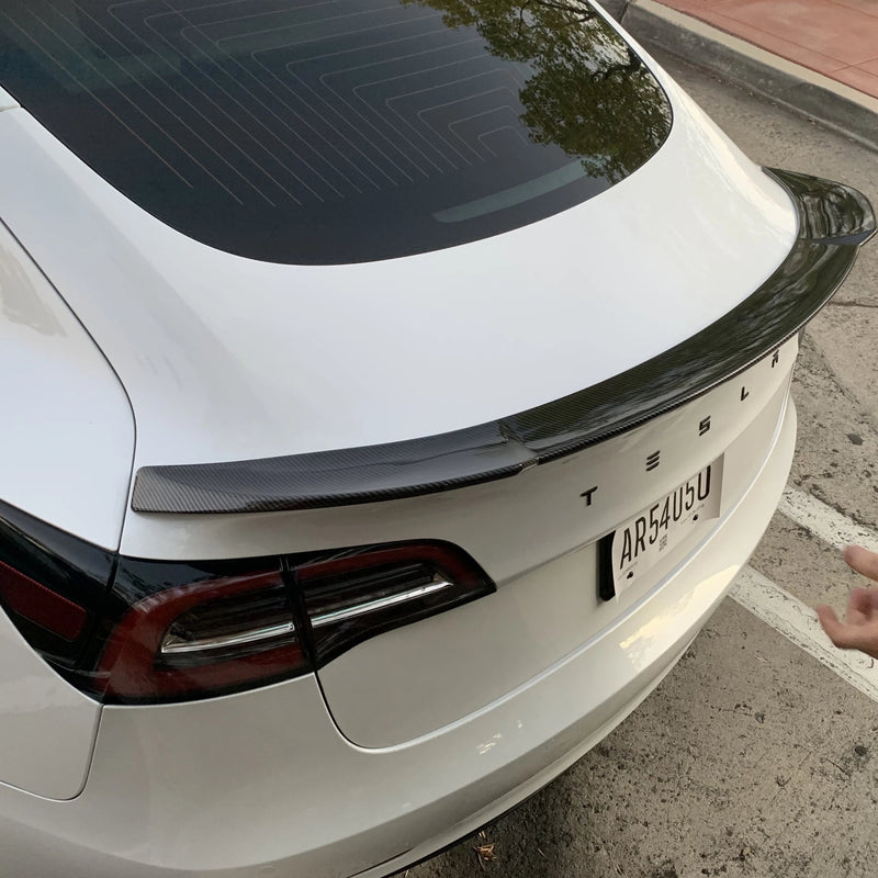 Model 3 Jupiter Spoiler ABS Plastic -Carbon Fiber Coated, Only $189*