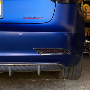 Model 3 Rear Bumper Reflector Frames - Carbon Fiber Coated (Only $29 per pair)