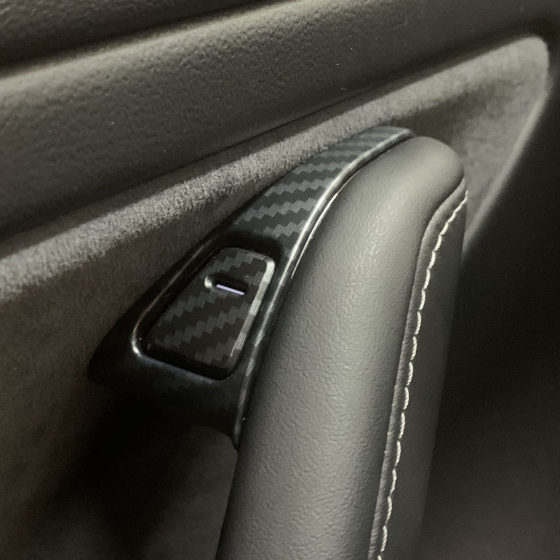 Model 3 & Y Upper Door Switch Covers, ABS Plastic Carbon Fiber Coated - $49 w/ 20% OFF
