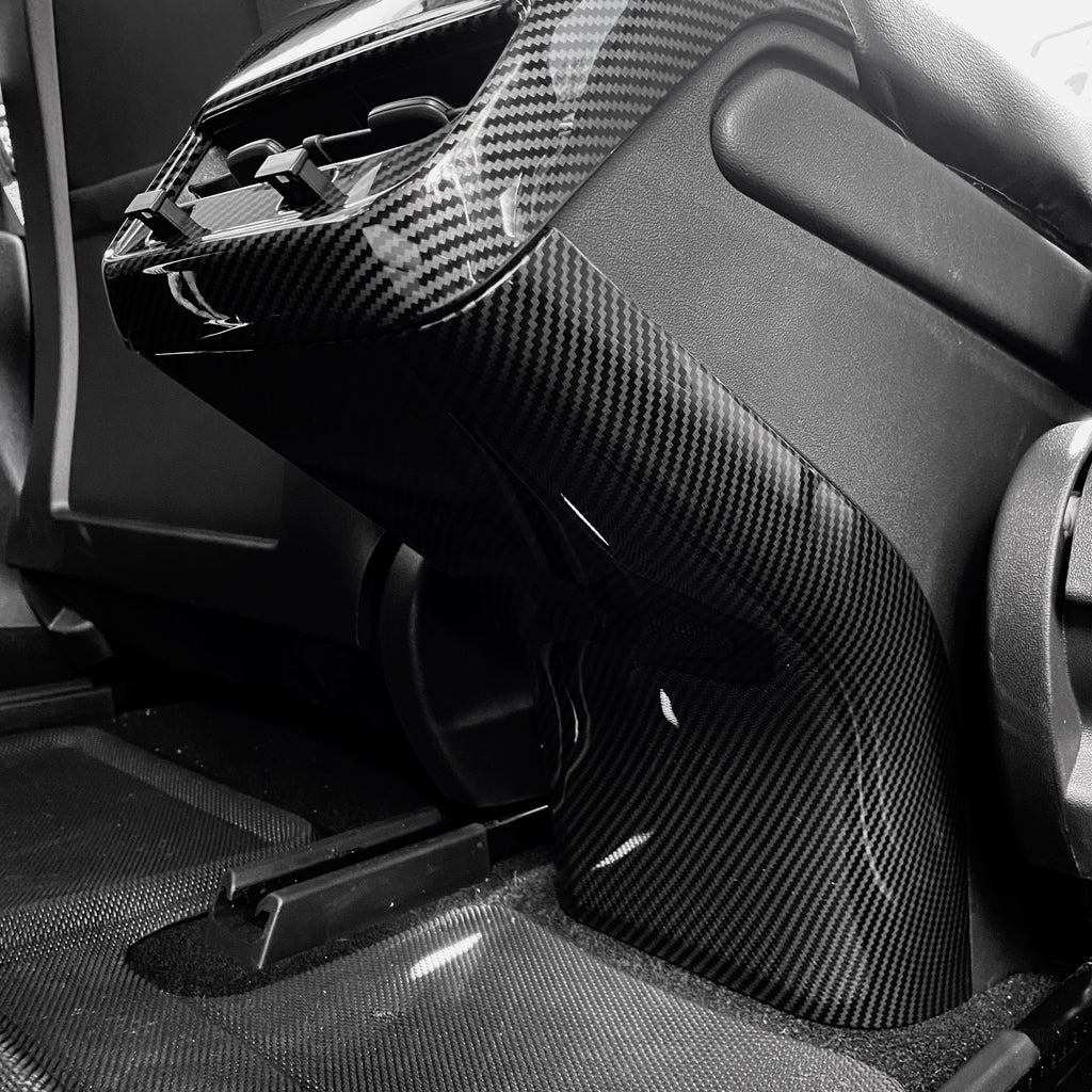 Model 3 & Y Backseat Center Console Base Cover - Carbon Fiber Glossy, Matte, or White $89