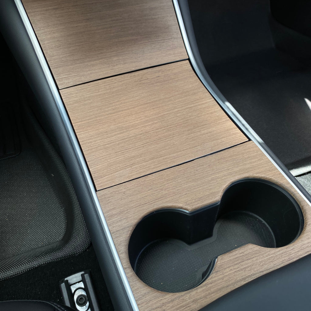 "Model 3 & Y 2017-2020 - Real ""Open-Pore"" Wood Veneer Center Console Overlays $229"