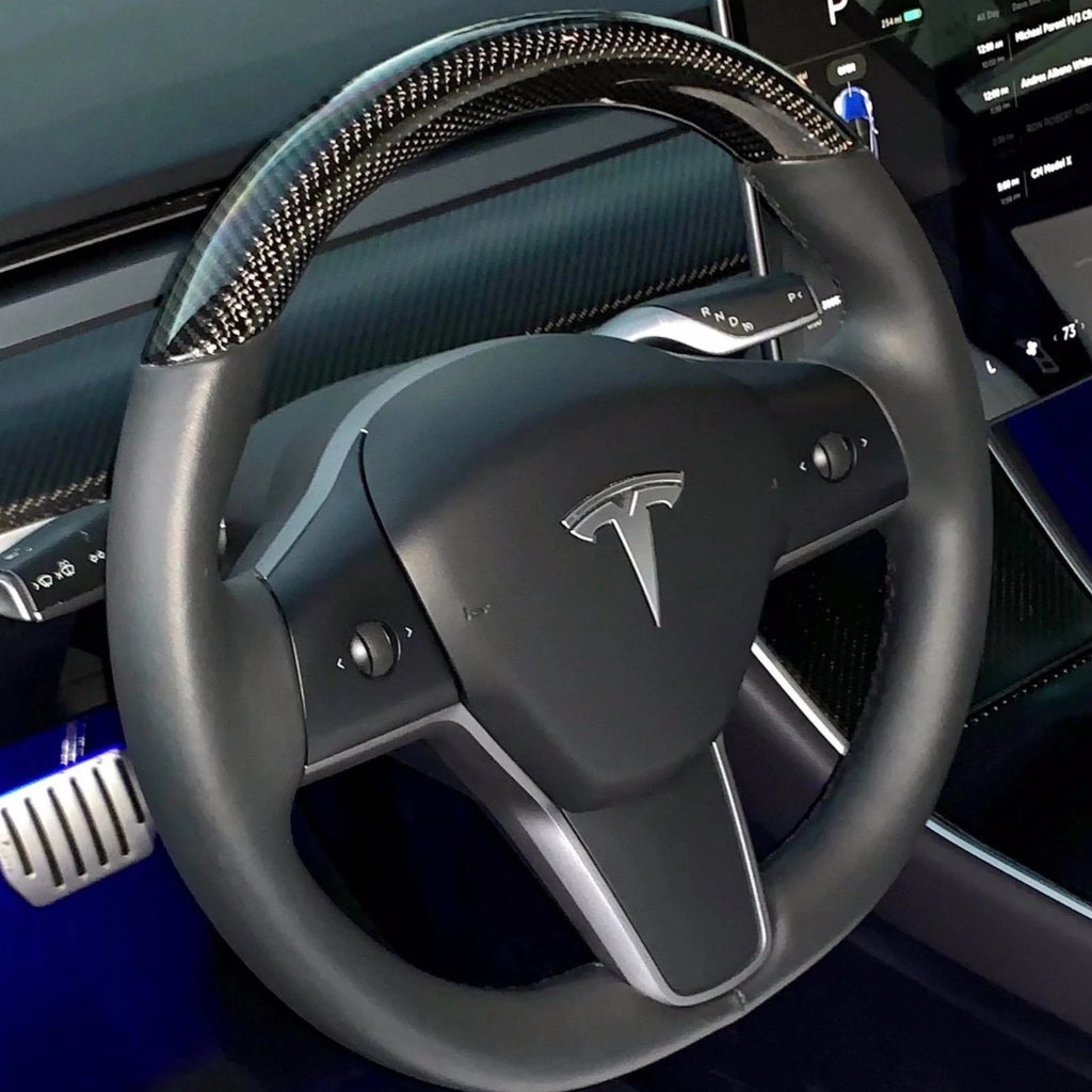 Model 3 & Y - Top Half Carbon Fiber Steering Wheel Only $599