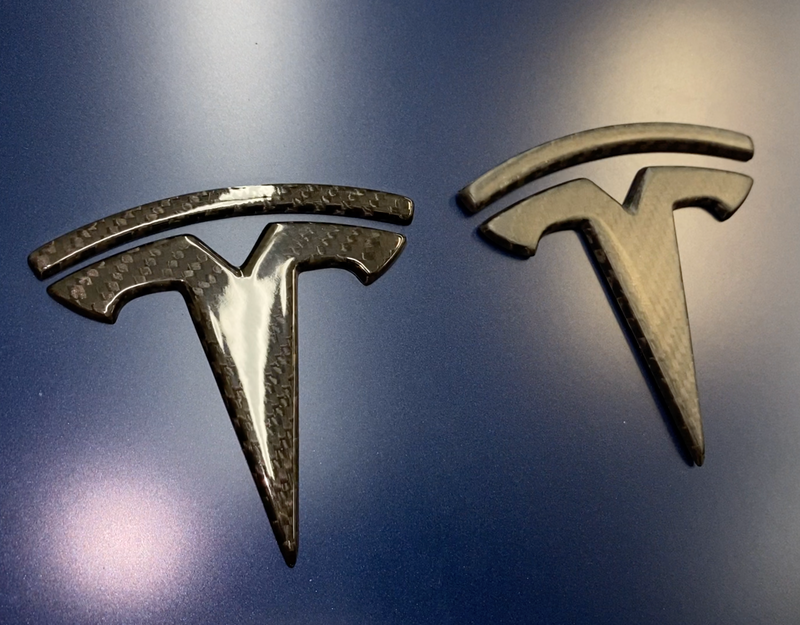 Model 3 Carbon Fiber T Logo Caps - 1 Pair, Front & Back 4 Pieces, From $99
