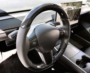 Model 3 & Y - Full Carbon Fiber Steering Wheel Only $999