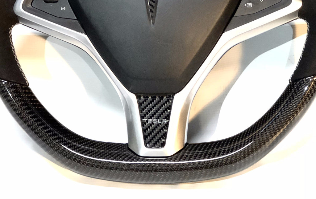Model S & X Carbon Fiber Steering Wheel Applique' $19.99 with 20% Off