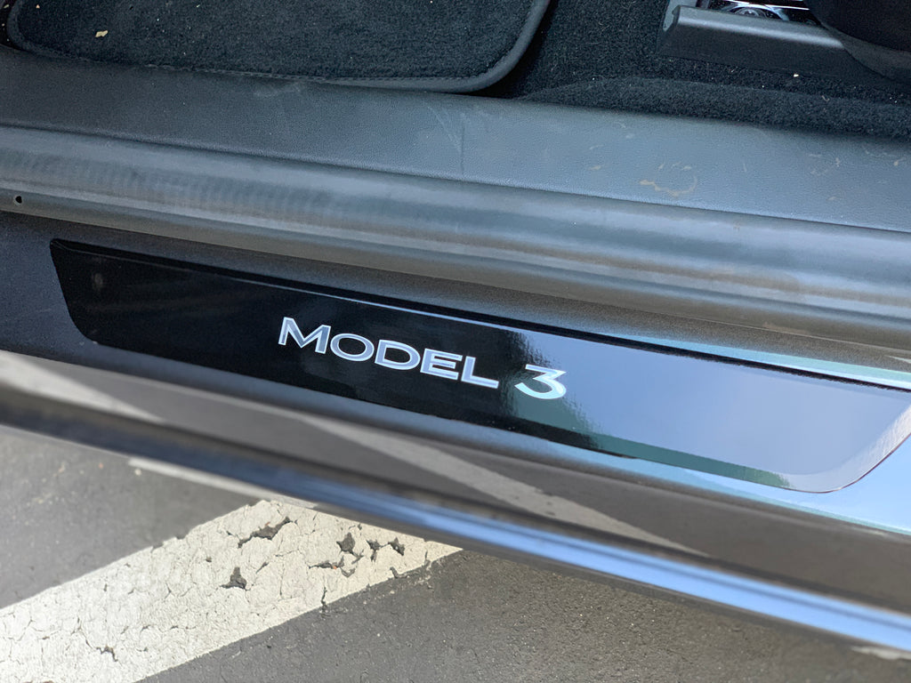 Model 3 Front Door Sill Vinyl Skin Covers- (1 Pair) ($29 with 20% off)