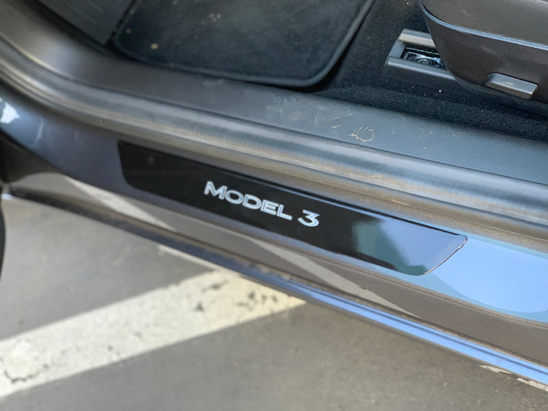 Model 3 Front Door Sill Vinyl Skin Covers- (1 Pair)