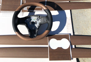Model 3 & Y - Open Pore Wooden Steering Wheel Top Only $ 599