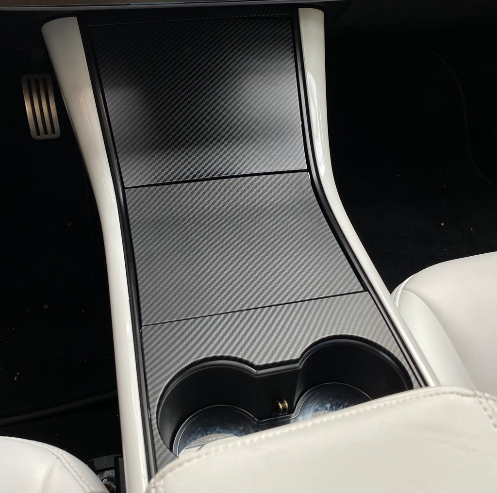 Model 3 & Y Center Console Plastic Cover - Carbon Fiber Coated- (4 Pieces Gen.2)  From $89