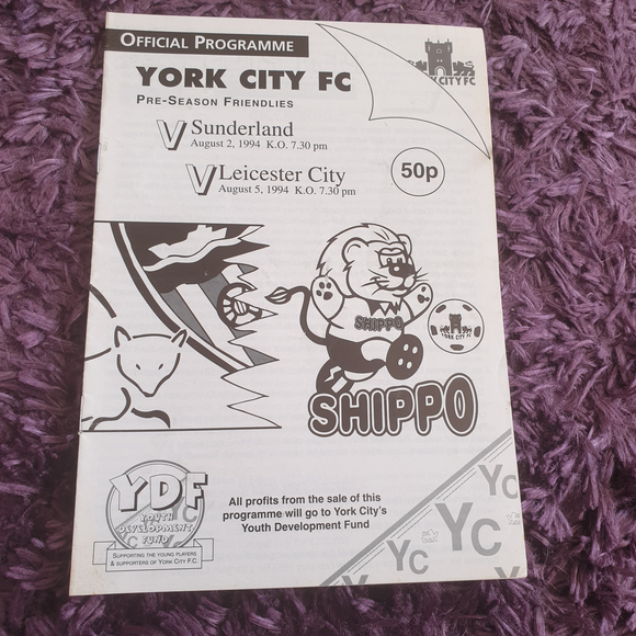 York City v Sunderland 1994/95 Pre Season Friendly