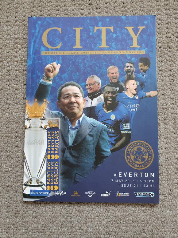 Match Programme Leicester City v Everton Premier League Winners Special Edition 2015/16