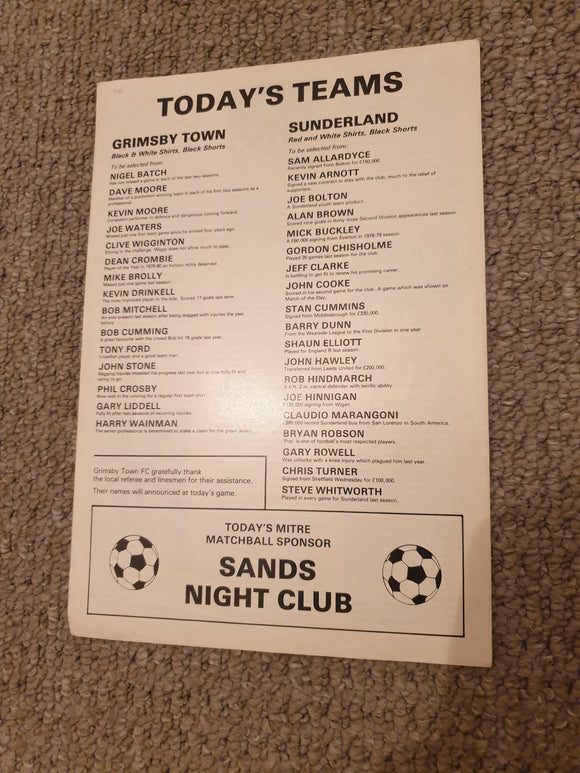 Match Programme Grimsby v Sunderland Pre Season Friendly 1980
