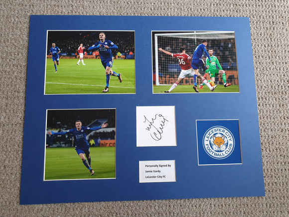 Signed Mounted Display Jamie Vardy Leicester City 11 goal Premier League Record