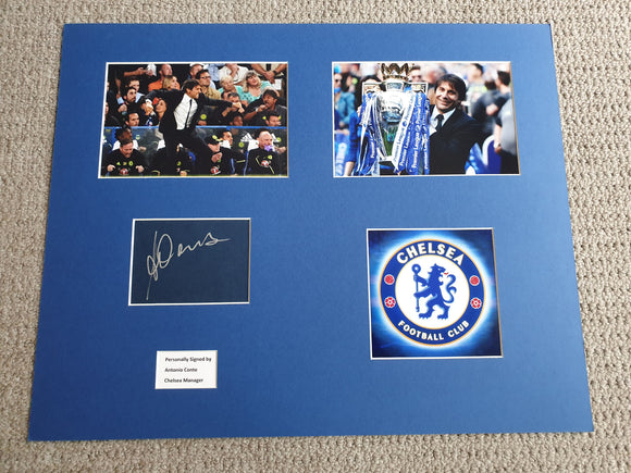 Signed Mounted Display Antonio Conte Chelsea FC Premier league winner