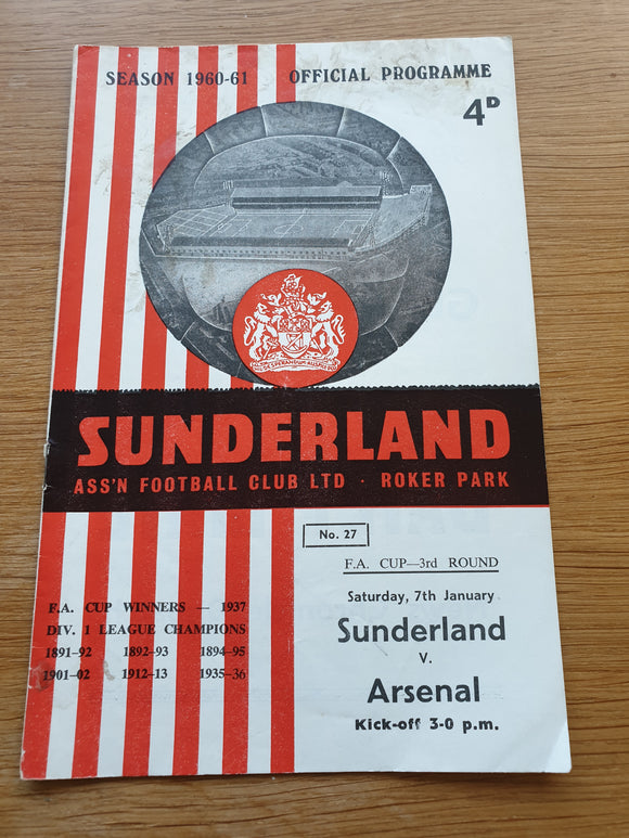 Match Programme Sunderland v Arsenal FA Cup 3rd Round 1960/61