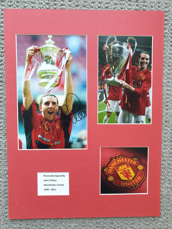 Signed Mounted Display John O'Shea Manchester United FA Cup & Champions League