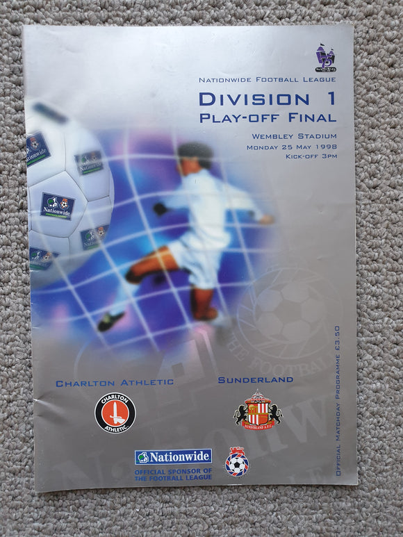 Match Programme Charlton Athletic v Sunderland 1998 Play off Final